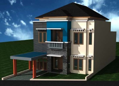 Desain 2 lantai dengan gaya mewah